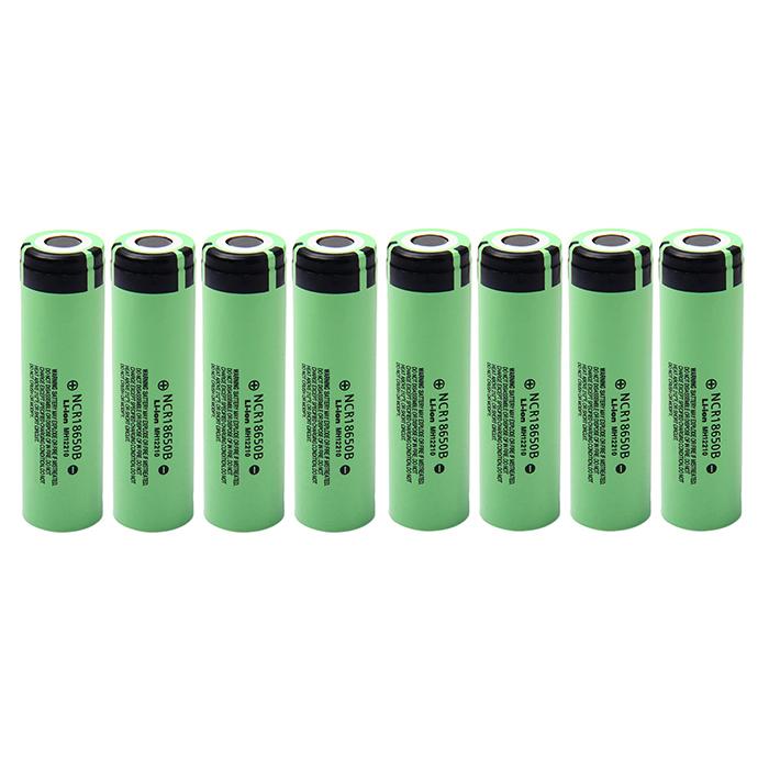8x NCR18650B 3400mAh Li-Ion Batterien