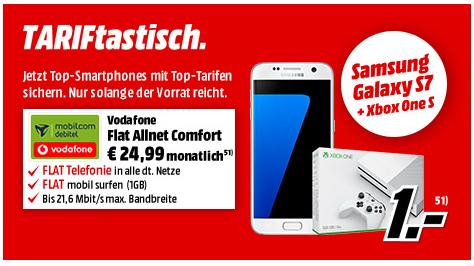 Vodafone Flat Allnet Comfort (Allnet Flat, 1GB 21,6M/bits) + S7 & XBOX One S für zzgl. 1€ [Media-Markt]