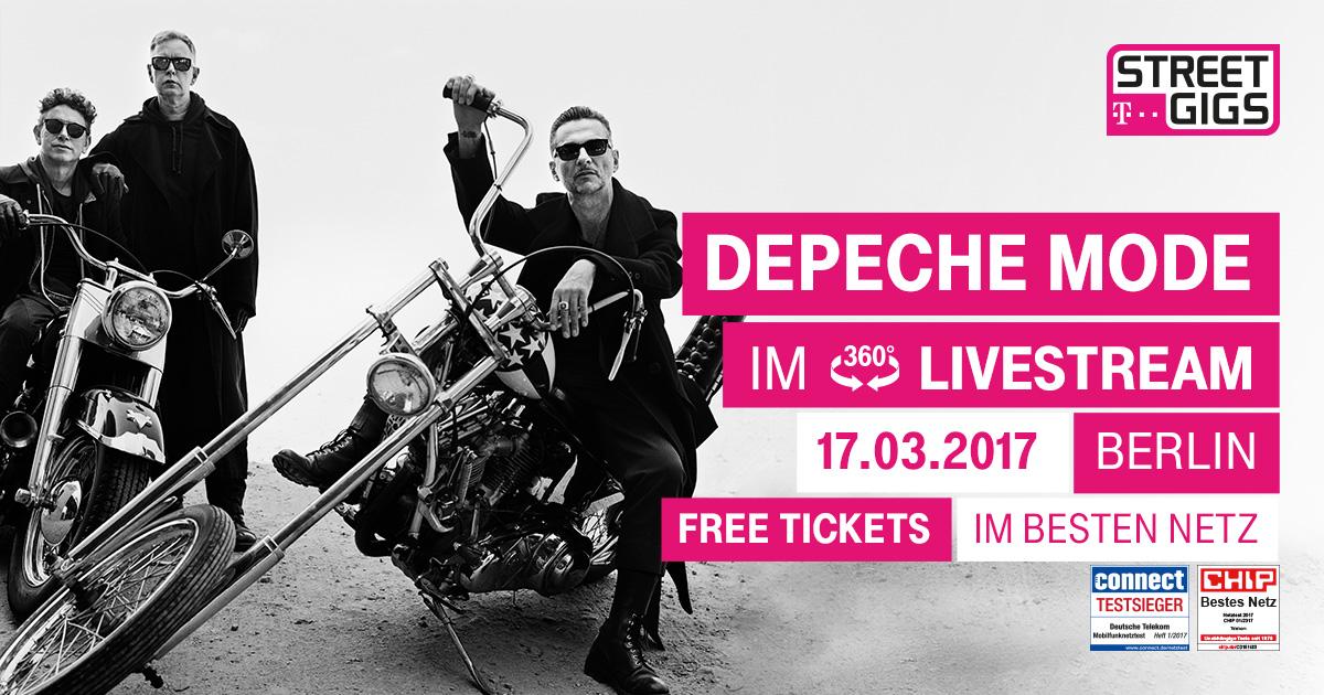 (telekom.de) Depeche Mode Konzert Live am 17.3.2017 im Telekom Street Gig 360° HD-Stream