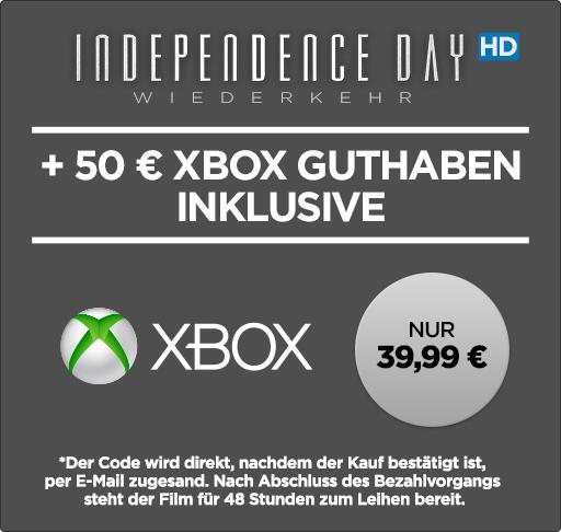 """50€ Xbox-Live-Guthaben + Leihfilm """"Independence Day: Wiederkehr"""" in HD für 39,99€ (= 20% Rabatt) [Wuaki]"""