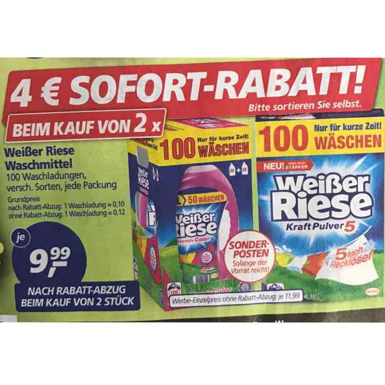[Real] 4€ Sofort-Rabatt beim Kauf von zwei Weißer Riese Waschmittel