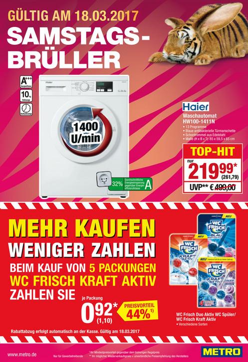 [Metro, nur am 18.03.] Haier HW100-1411N Waschmaschine Frontlader /EEK: A+++ / 1400 U/min / 10kg