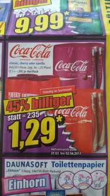 Coca Cola 4x 0,33-l für 1,29 ab 31.03.2017 [Norma]