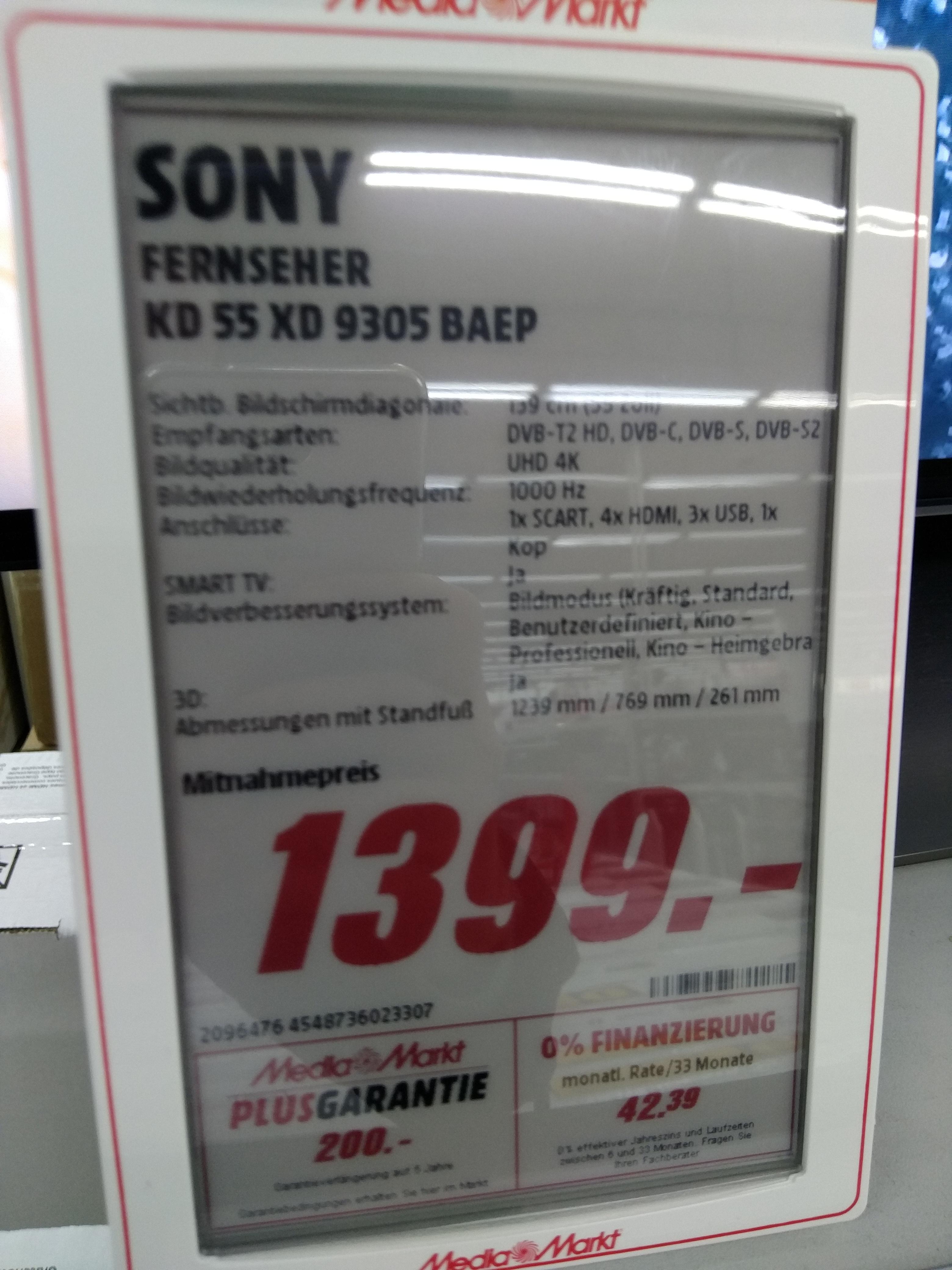 Sony KD 55 Xd 9305 BAEP im Media Markt Speyer für 1399,- plus 120,- Gutschein