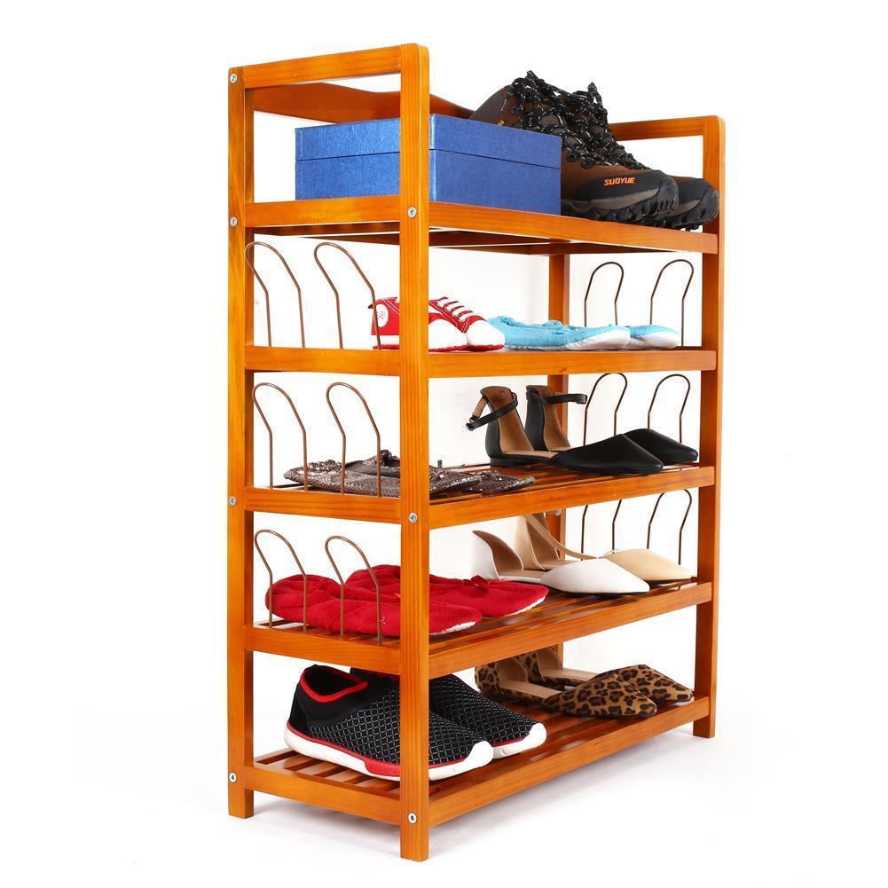 ebay: Schuhregal mit 5 Ablagen (aus Massivholz)