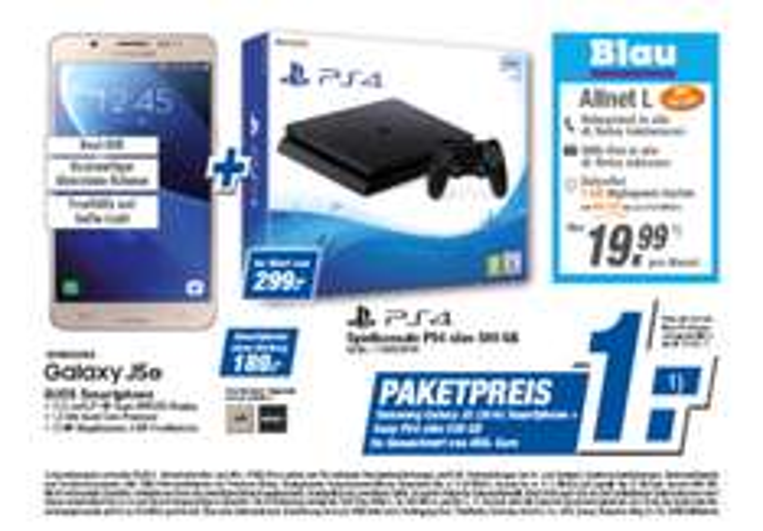 Blau Allnet L inkl. Samsung J5'16 & PS4 Slim 500GB