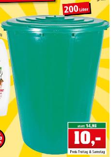 [Thomas Philipps ab 24.03.] Jumbo-Regentonne (200 Liter) mit Deckel und Ablaufhahn in grün