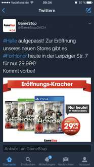 Gamestop Lokal Halle - For Honor PS4/XBone/PC für 29,99€