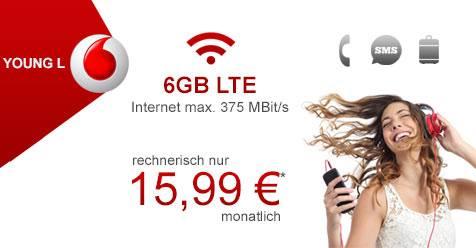Vodafone Young L Basic *6GB LTE, Allnet Flat, SMS Flat, EU Roaming 15,99€/Monat*,