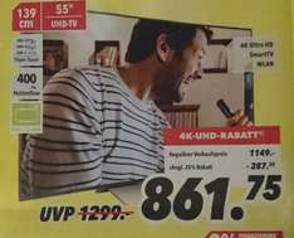 "[lokal BO DO] SONY KD-55XD8005, 55"", UHD 4K, HDR, SMART TV, LED TV, 400 Hz, Twin Triple Tuner mit DVB-T2, für 861,75 € bei Medimax"