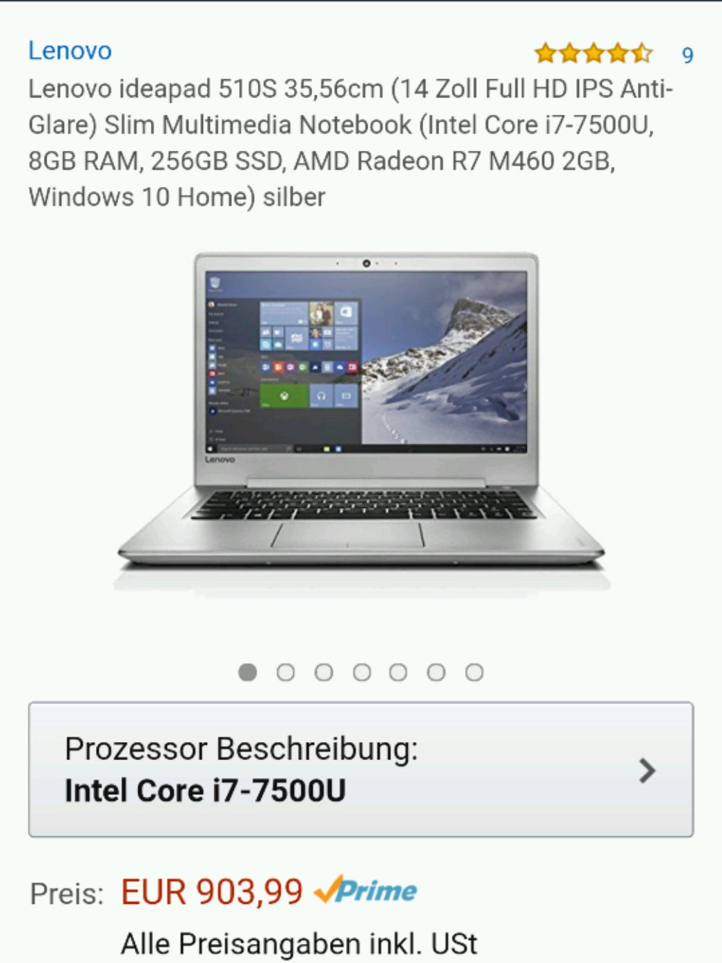 Amazon Blitzangebot Lenovo ideapad 510S, 14 Zoll Full HD IPS matt (Intel i7-7500U, 8GB RAM, 256GB SSD, AMD Radeon R7 M460 2GB, Windows 10 Home) silber