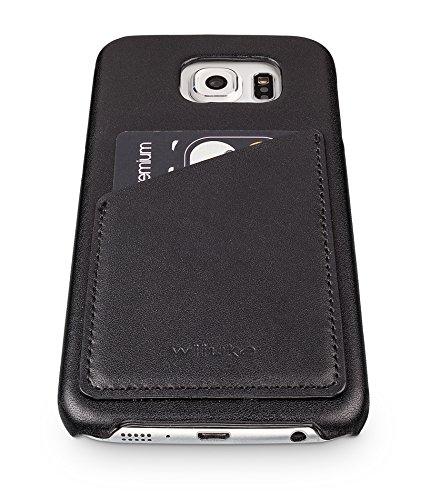 wiiuka Echt Lederhülle TOUCH Samsung Galaxy S6 und S6 edge mit Kartenfach Schwarz statt 24,95 €