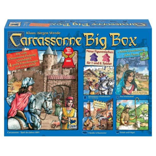 Carcassonne Big Box (Grundspiel + 4,5 Erweiterungen + Spielerfiguren für 7./8. Spieler) für 24,95€ [Real]