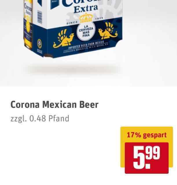 [Rewe Center, evtl. deutschlandweit] Sixpack Corona Extra 6x0,355l f. 6€ zzgl. Pfand