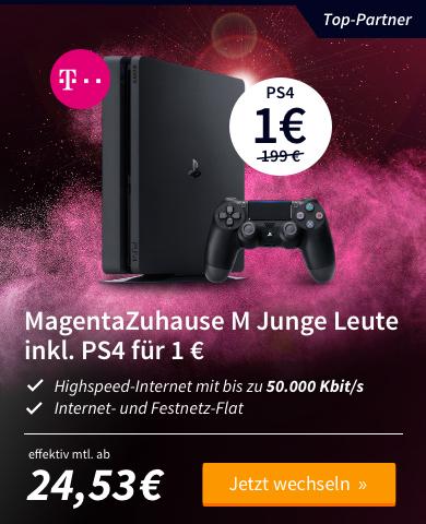 [Preis24] Telekom Magenta Zuhause M Junge Leute Wechsler DSL 50Mbit/s + PS4 Slim 500GB für 24,53€
