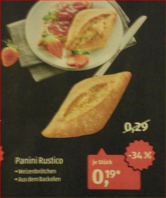 [Aldi Süd]  Panini Rustico Weizenbrötchen statt 0,29 Euro für 0,19 Euro