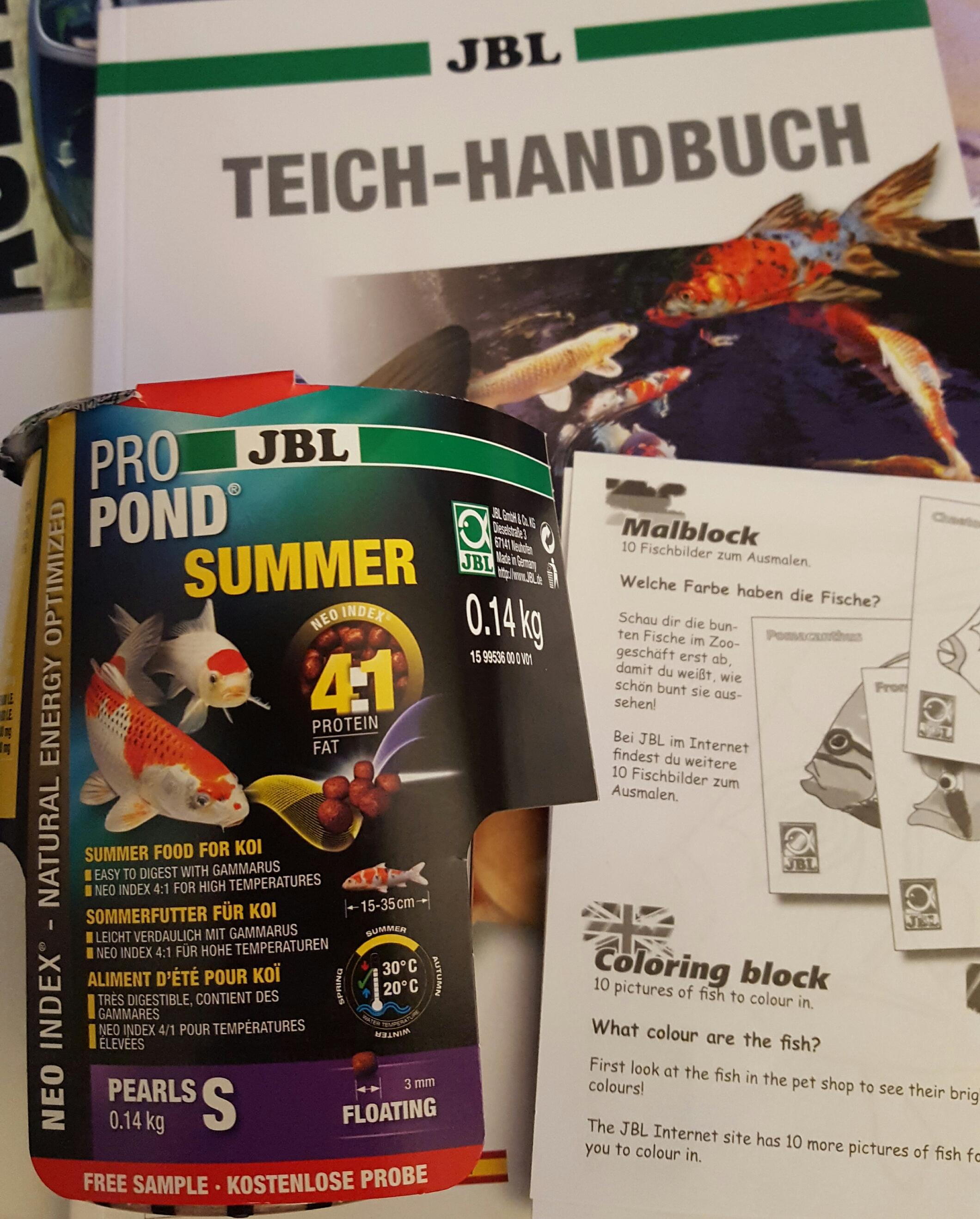 (Lokal 74821 Mosbach) JBL ProPond Koi Futterprobe, Kindermalblock, Teichhandbuch kostenlos