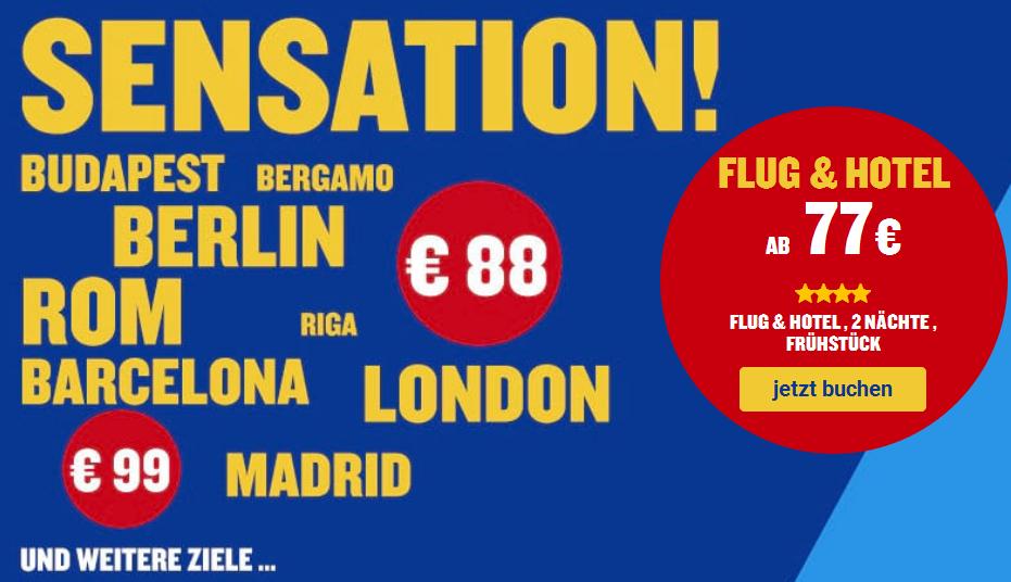(Ryanair Holidays) viele 2 Täger ab 77€/Person, bspw. Flug, 2 Nächte 4* Double Tree by Hilton in Mailand mit Frühstück & Flug ab Hamburg (77€/Person)