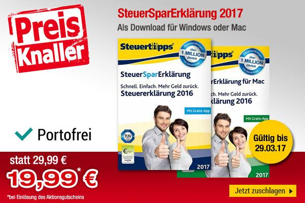 Steuer-Spar-Erklärung 2017 für PC oder Mac für 19,99 (VGP 22,45) bei bücher.de zum DL