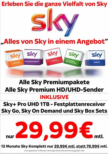 [Medimax Gera] Sky Komplett mit UHD Reciver für 29,99€ mtl.! - Jetzt auch Online verfügbar!