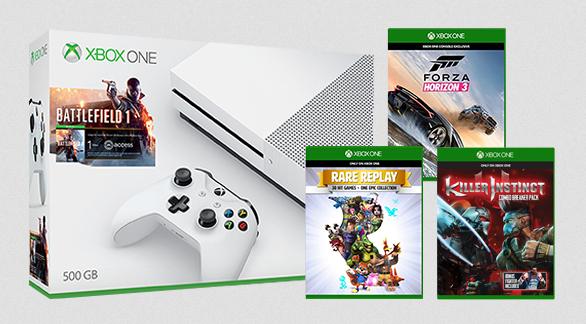 Microsoft Xbox One S 500GB + Battlefield 1 + Forza Horizon 3 + Rare Replay + Killer Instinct für 254 Euro (Microsoft UK)