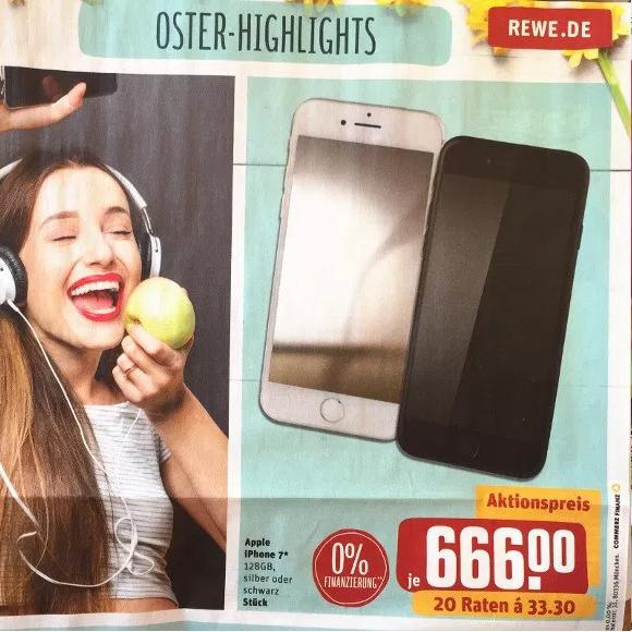 Apple iPhone 7 128 GB für 666 € ab Montag 27.03.2017 [REWE Center lokal]