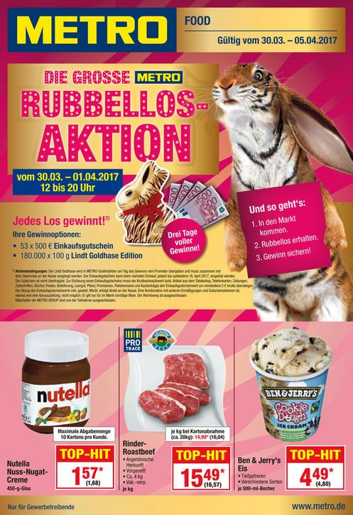 30.03.-05.04. bundesweit - Nutella 450g Glas (eventuell sogar +50g) für 1,68€ in der Metro