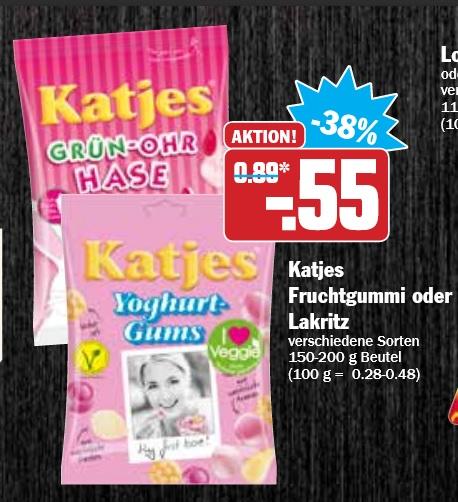 Katjes Fruchtgummi oder Lakritz verschiedene Sorten für 0,55€ ab Montag bei Hit