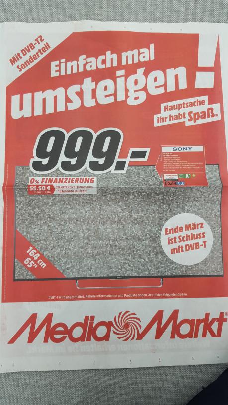 Sony KDL65W855 für 999 Euro in Frankfurt/M Media Markt Borsigallee