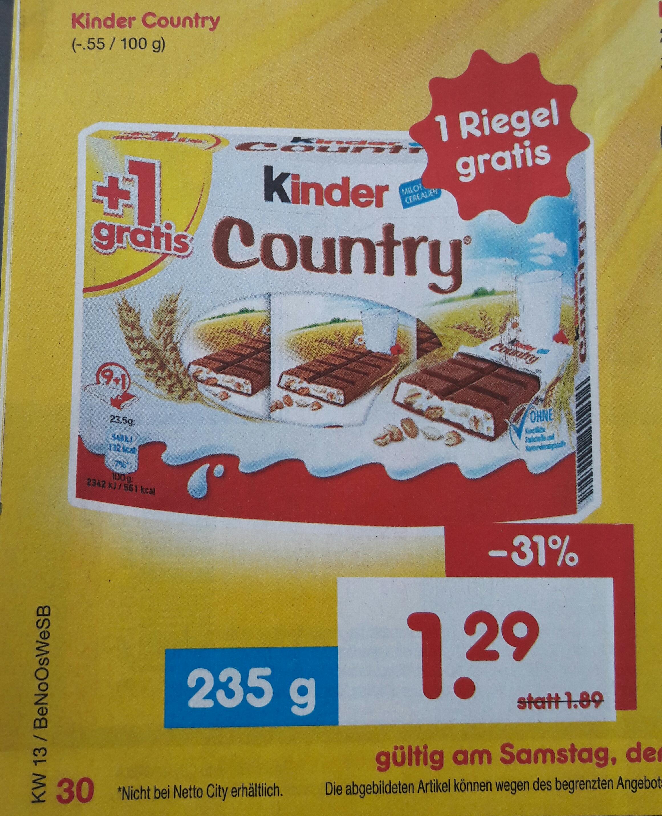 Kinder Country für 1,29 EUR bei Netto Marken-Discount