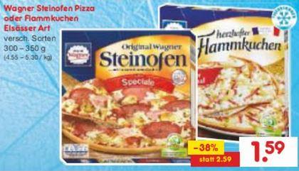[Netto und Rewe ab 27.03.] Original Wagner Steinofen Pizza, Piccolinis oder Flammkuchen für 1,59€