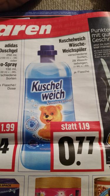 (Edeka Hessenring) Kuschelweich Weichspüler für 0.77€