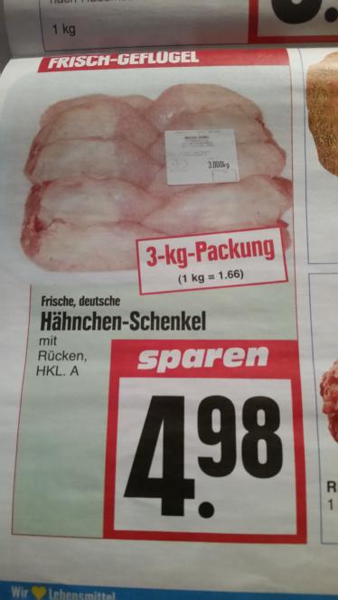 (Edeka Hessenring) 3kg Hähnchenschenkel für 4.98€