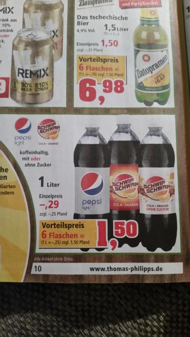 (Thomas Philipps) Pepsi Light, Schwip Schwap und Schwip Schwap Light 1l für je 25 cent
