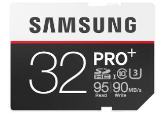 SAMSUNG PRO Plus , 32 GB, Class 10 U3, 95 Mb/s lesen, 90 Mb/s schreiben für 22 € bei Mediamarkt