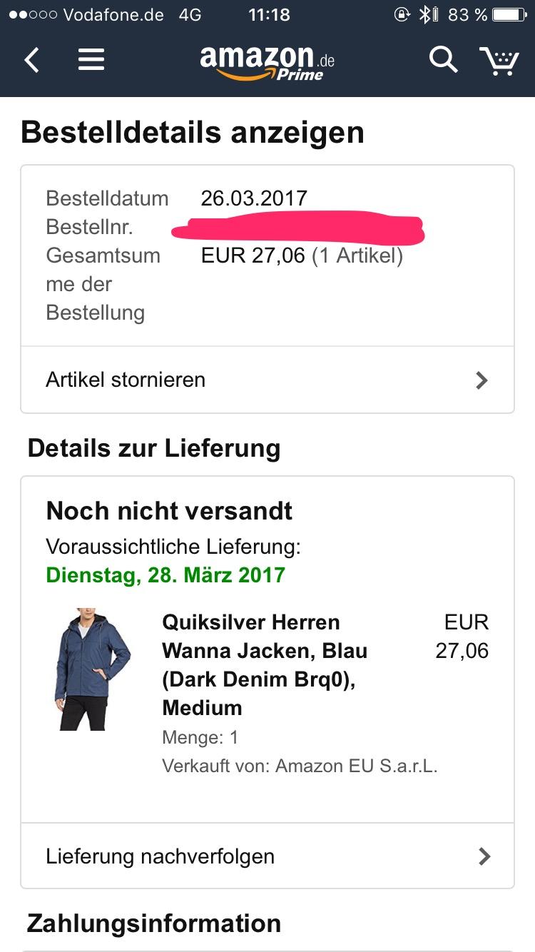 (amazon.de) Quiksilver Herren Wanna Jacken Größe M für 27,06€ statt 109,80€