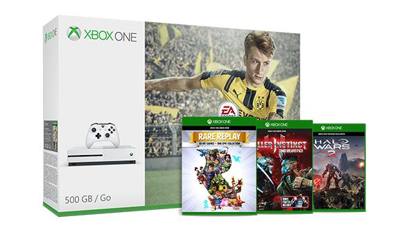 Xbox One S + Fifa 17 + Halo Wars 2 + Rare Replay + Killer Instinct für 254€ und weitere Bundles im Angebot (Microsoft UK)