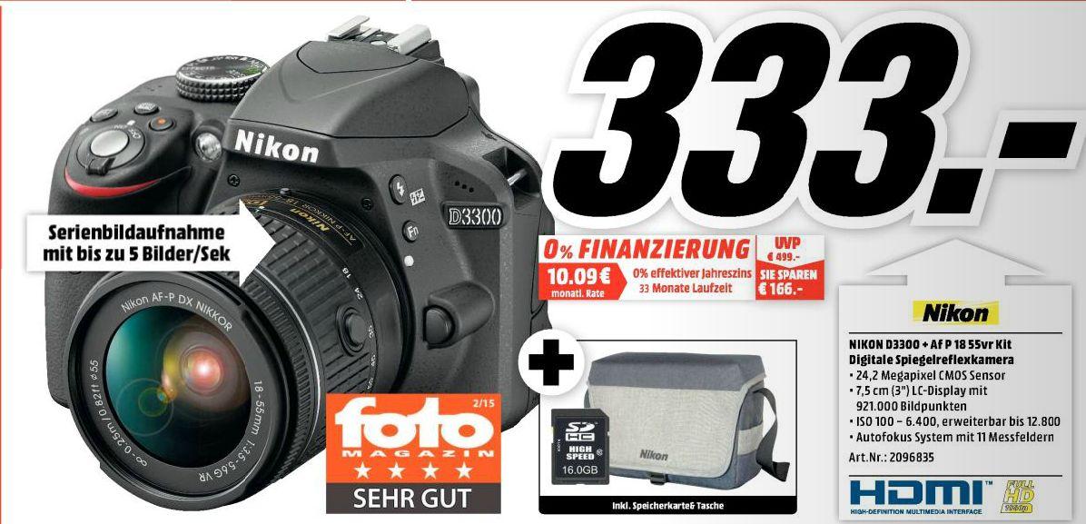 [Lokal Mediamarkt Dortmund-Hörde ab 29.03] Nikon Digitale Spiegelreflexkamera D3300 mit Objektiv (AF-P 18 - 55 mm VR) inkl. 16GB Speicherkarte und Kameratasche für 333,-€