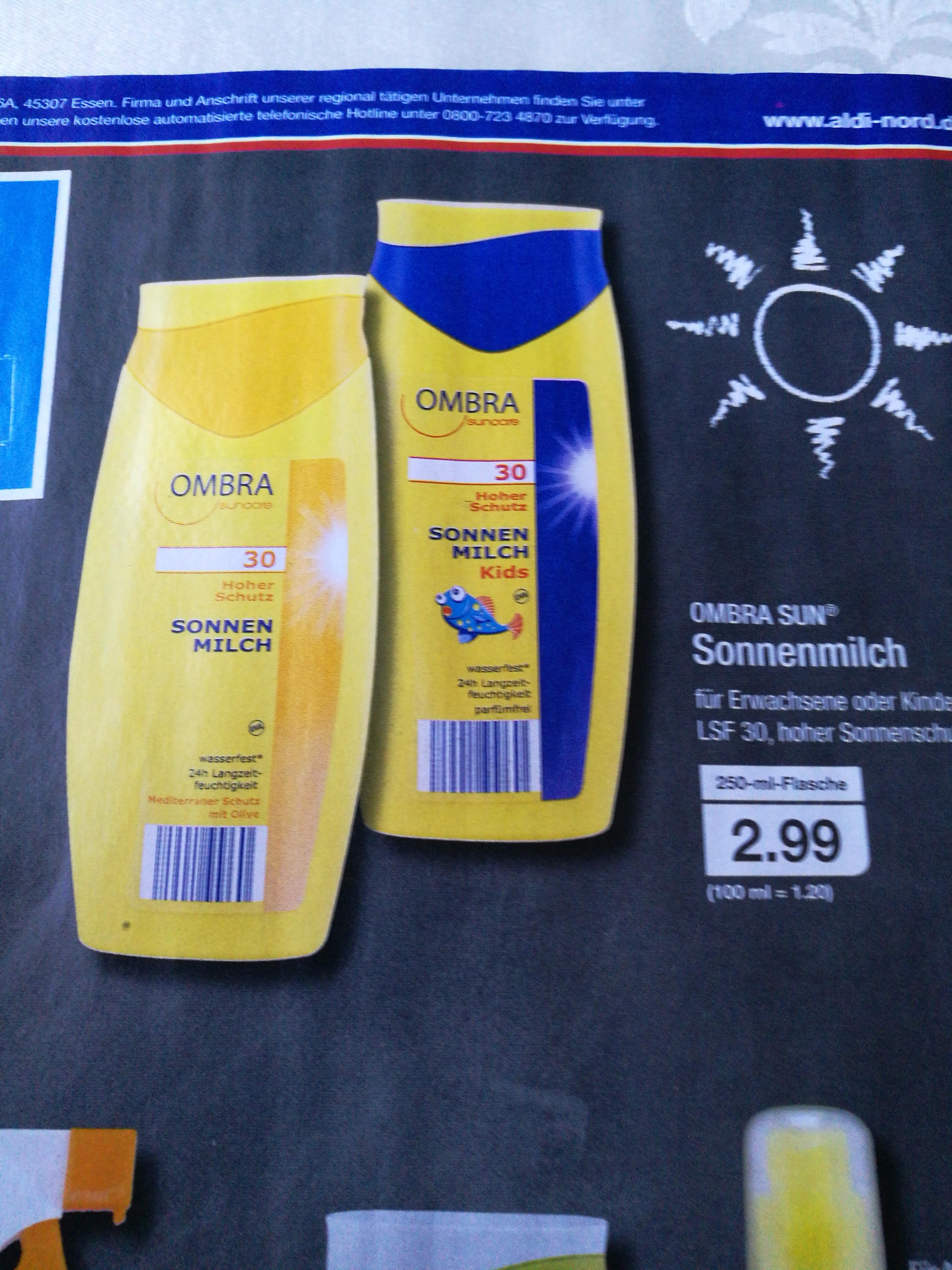 OMBRA Sun Sonnenmilch LSF30 (250 ml) für 2,99€ @Aldi Nord