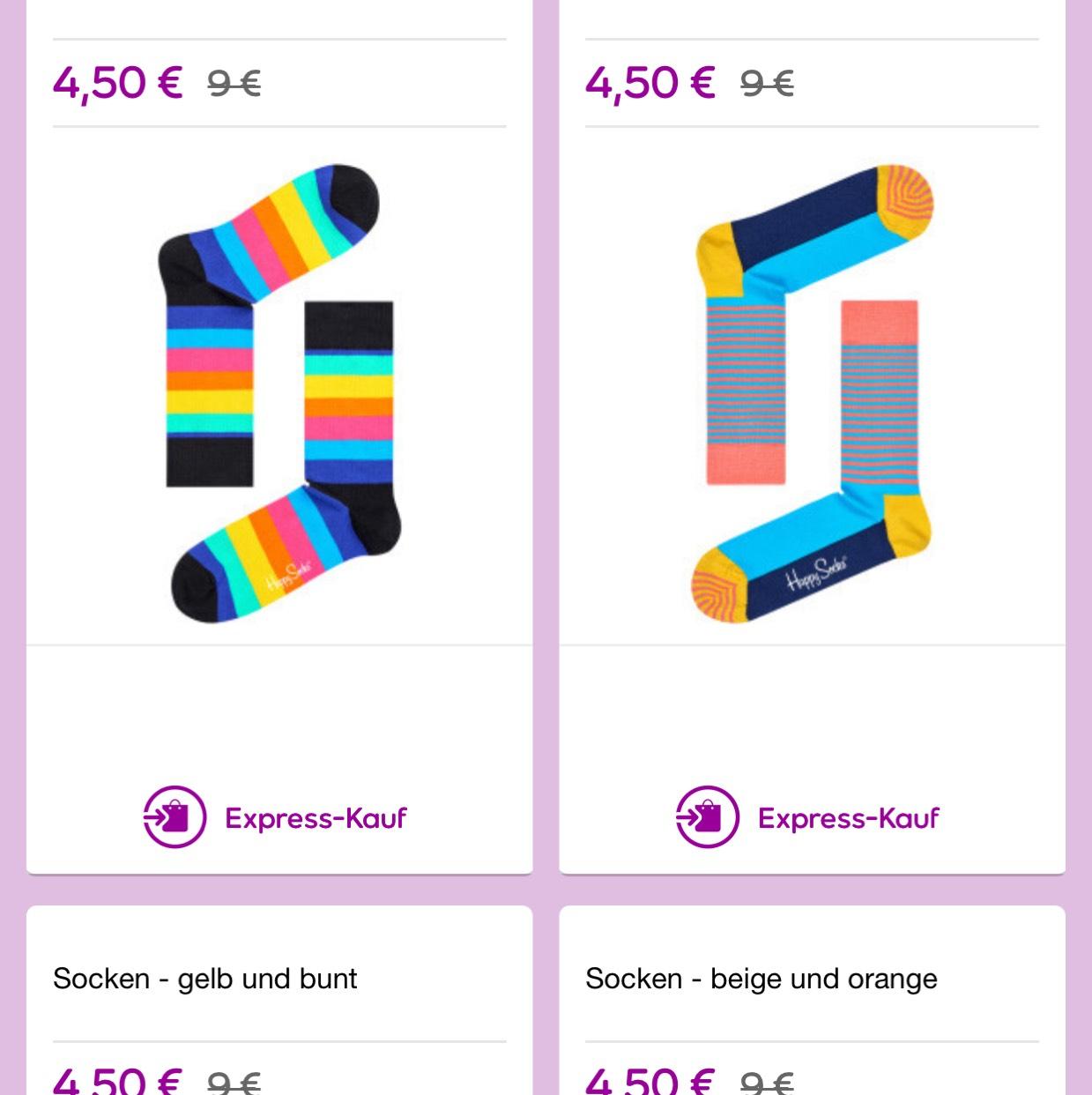 Happy Socks ab 4,50€ + 6,50€ VSK