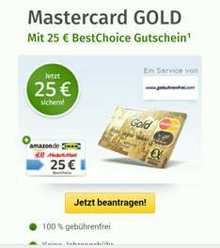 Mastercard GOLD 100% Gebührenfrei bei web.de
