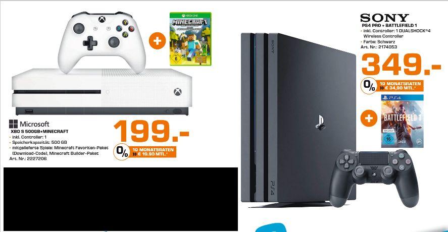 [Lokal Saturn Chemnitz ab 30.03] Playstation 4 Pro (1TB) inc. Battlefield 1 für schlanke 349,-€ oder Microsoft Xbox One S (500GB) inc. Minecraft für 199,-€