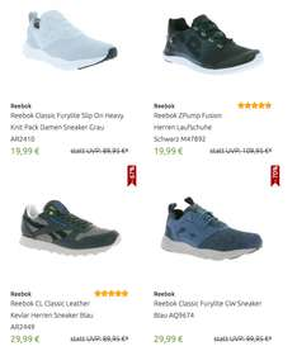 Diverse Reebok Schuhe ab 19,99€@outlet46