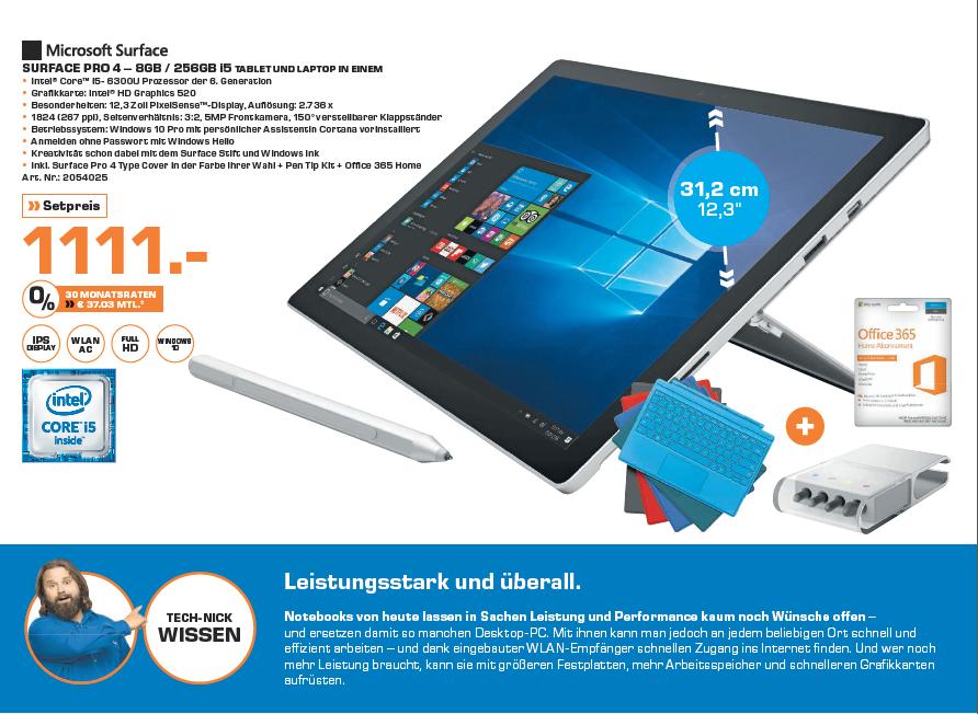 """[Saturn Mainz / Wiesbaden] Microsoft Surface Pro 4 Tablet (12,3"""" / Intel Core i5-6300U / 8GB RAM / 256GB SSD / Windows 10 Pro) + Tatstur + Office 365 für 1.111€"""