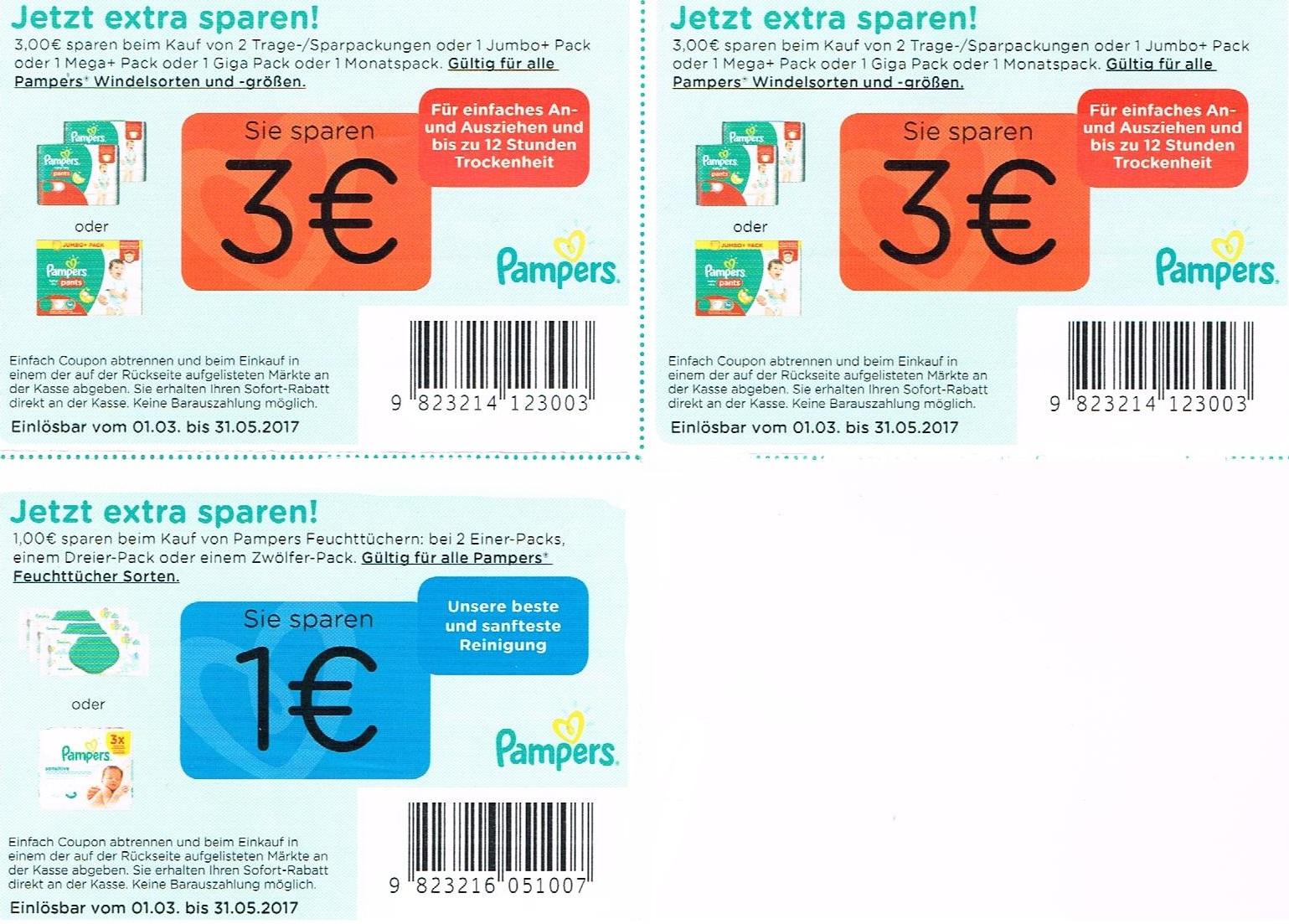 3€ Pampers Gutscheine für alle Windelsorten + Feuchttüchern Gutschein - gültig bis 31.05.2017