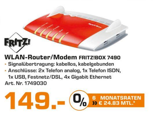 [Lokal Saturn Wolfsburg] AVM FRITZBox 7490 Wireless Lan AC + N Router (VDSL/ADSL, 1.300 Mbit/s , DECT Basis) für 149,-€