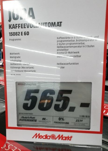 Regional Mediamarkt Schweinfurt (Neueröffnung 30.03.17 Stadtgalerie) / JURA 15082 E60 Kaffeevollautomat für 565,-€ (idealo 625,-€)