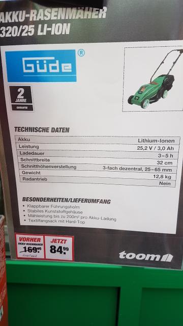 [toom lokal/Grevenbroich] Akku Rasenmäher Güde 320 / 25 Li-Ion