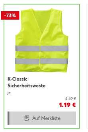 [Kaufland] Warnweste / Auto-Sicherheitsweste in Gelb für 1,19€ ab 06.04. - 12.04