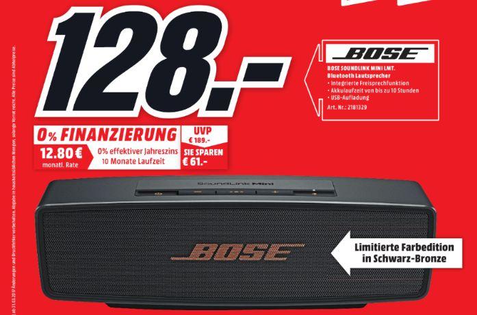[Lokal Mediamarkt Neubrandenburg] BOSE Soundlink Mini II Limited Edition, Bluetooth Lautsprecher, Schwarz/Kupfer, Bluetoothlautsprecher für 128,-€